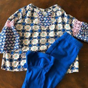 Girls 2 pc crown & ivy royal blue top pants sz 6/8